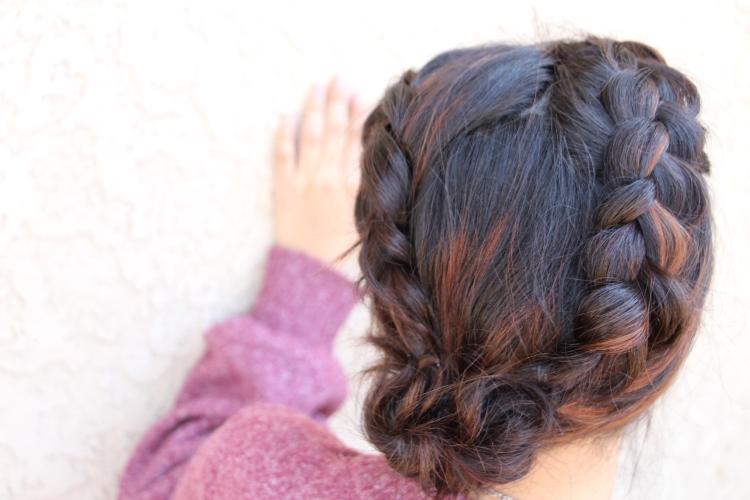 Dutch Braided Side Messy Bun Seton Girls Hairstyles